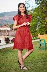 Janasya Women's Red Cotton Tunic(J0090)