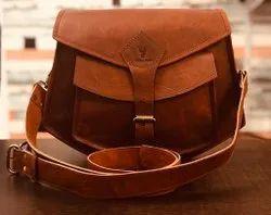 Dcuir Club Brown Leather Adjustable Ladies Sling Bag