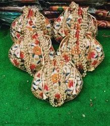 Multicolor Silk Embroidered Potli Bag With Beautiful Beaded Handle