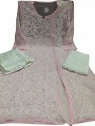 Light Pink Embroidered Georgette Suit, Size: Medium