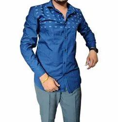 Cotton Mens Blue Printed Shirt