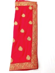 Wedding Wear Embroidery Ladies Red Vichitra Silk Saree, 6.5m (with blouse piece)