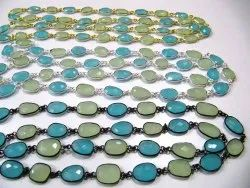 Multi Color Green And Aqua Chalcedony Free Shape Briolette 10 To 15mm