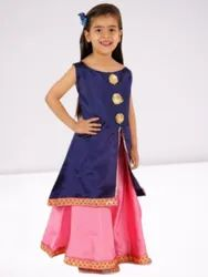 Blue And Pink Embroidered Kids Sleeveless Party Wear Lehenga