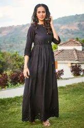Janasya Women's Black Cotton Western Dress(J0081)