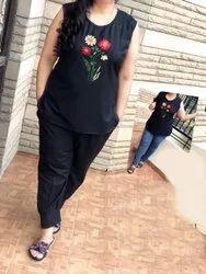 Ladies Black Cotton Night Suit