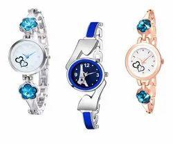 Party Wear Round Analog Wrist Bracelet Watch Set, For Daily