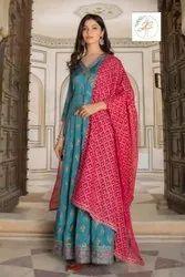Silk Gown With Duptta