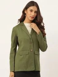 Aayna Casual Wear Women Olive Green Pure Cotton Blazer, Size: Small