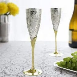 Netboon Engraved Silver Plated Goblet Champagne Flute Wine Glass