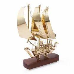 Sailing Ship Handicraft Brass Showpiece for Home Decor and Gifting Purpose