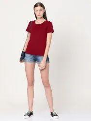 Behariji Enterprises Half Sleeve Ladies Plain Round Neck T-Shirt, Size: XS-XXL