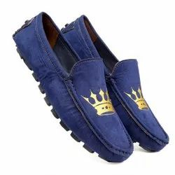 Formal Leather Men's Blue Slip-On Loafers, Size: 6 To 10