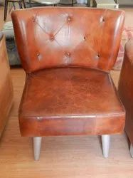 New Natural Brown Leather Armless Chair