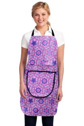 无纺布PVC层压面料印花紫色防水厨房围裙,尺寸:中型