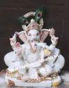 Jaipur White Stone Ganesha Marble Statue, Packaging Type: Liquid Foam, Size/dimension: 12 X 8 X 5