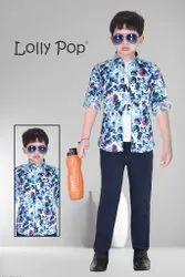 Cotton Kids Blue Printed Shirt Pant Set, Size: Small