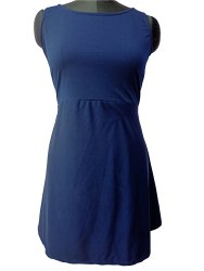 Blue Colour Boat Neck Dress
