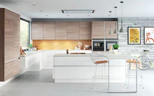 Wooden Brown Modular Kitchen Cabinets
