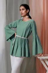 Janasya Women's Green Rayon Top(J0111)