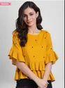 Women Mustard Orange Embellished Peplum Top