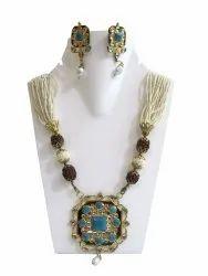 Royl Heavy Turquoise Pendant Necklace Set Pearl Rudraksh Jewellery
