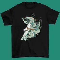 Cotton Casual Wear Boys Dinosaur Doing Karate Printed T Shirt