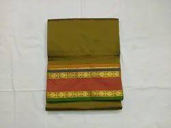 Festive Wear plain 9 yards semi silk sarees, With blouse piece, 10.3