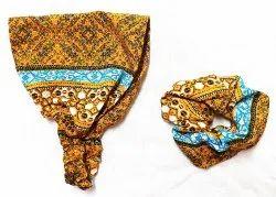 Flower Printed Fancy Headband & Scrunches
