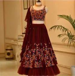 Wedding,party Semi-stitched Ank Enterprise Maroon Georgette Wedding Wear Lehengha Choli, Size: Free Size
