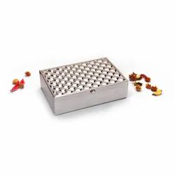 Square Weave Design Silver Box, Size-Big