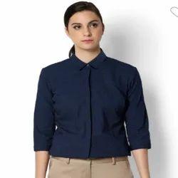 Cotton Blue Women Formal Shirts