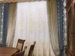 Damask Woven Holland Velvet Fabric Luxury Embroidery Curtain, For Window