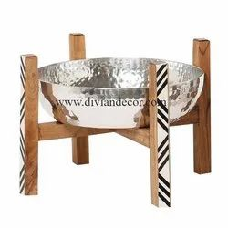 Divian Round Metal Serving Bowl With Stand, For Home & Hotel