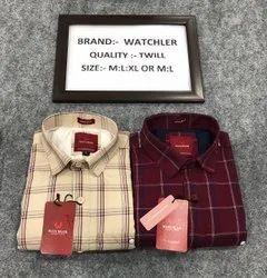Checks Collar Neck Watchler Men Maroon Twill Cotton Shirt, Machine wash