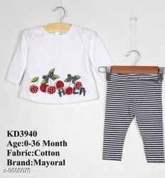 Cotton White Mayoral Kids Girls Top And Bottom Set