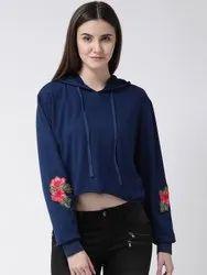 Women Navy Blue Flower Patch Top