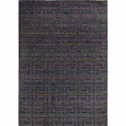 Handloom Charcoal Multi Stripe Woolen Area Rug and Carpets