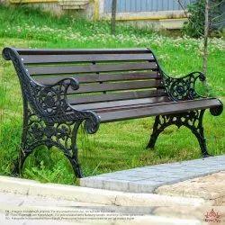 Black Mild Steel Outdoor Bench, Seating Capacity: 3