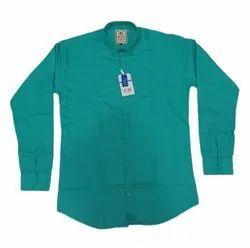 Plain Collar Neck Men Sea Green Cotton Shirt, Handwash