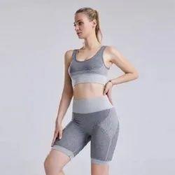 Plain High Waist Seamless Yoga Set Suit, Slim Fit