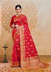 Red Silk Wedding Wear Saree
