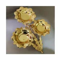 Flower & Leaf Design Gold Platter