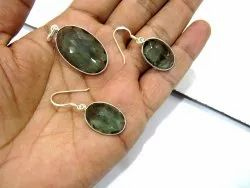 925 Sterling Silver Stamped Pendant Set Green Tourmaline Color Stone Gemstone Pendant