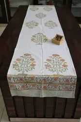 Meera Handicrafts White Printed Table Runner, Size: 20*60 Inch