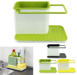3 In 1 Kitchen Sink Organizer For Dishwasher Liquid, Brush, Cloth, Soap, Sponge