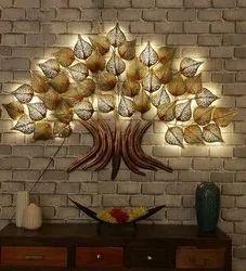 KAPTOWN KREATIONS Golden 5x3 LED TRE5x3 LED TREE wall art, Size: 75x5x50 Cm