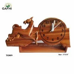 Brown Hand Made Wooden Crafts (Horse With Clock ), For Decoration, Size: 5