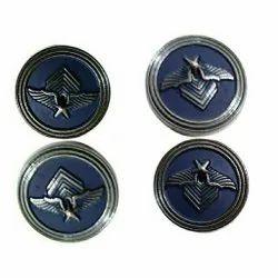 Blue Round Metal Coat Button