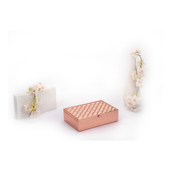 Square Weave Design Rose Gold Box, Size-Big